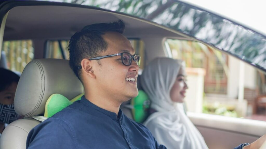 Happy family driving, save money and save fuel